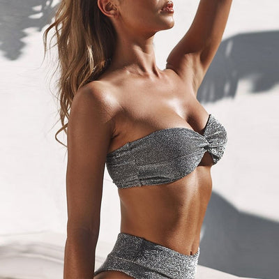 SILVER HIGH WAIST BIKINI SET
