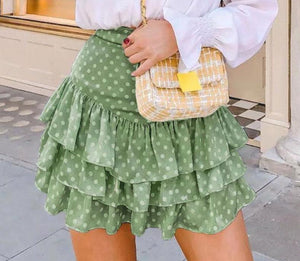RUFFLED/ DOT SKIRT