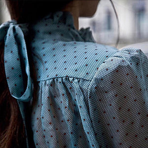POLKA DOT CHIFFON FLARE SLEEVE TOP