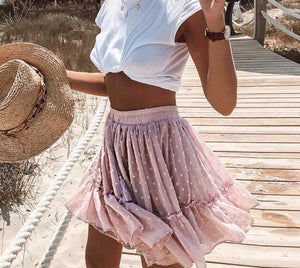 PINK POLKA DOT FRILL HEM MINI SKIRT