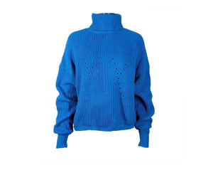DUSTY BLUE BALLOON SLEEVE ROLL NECK RIBBED JUMPER