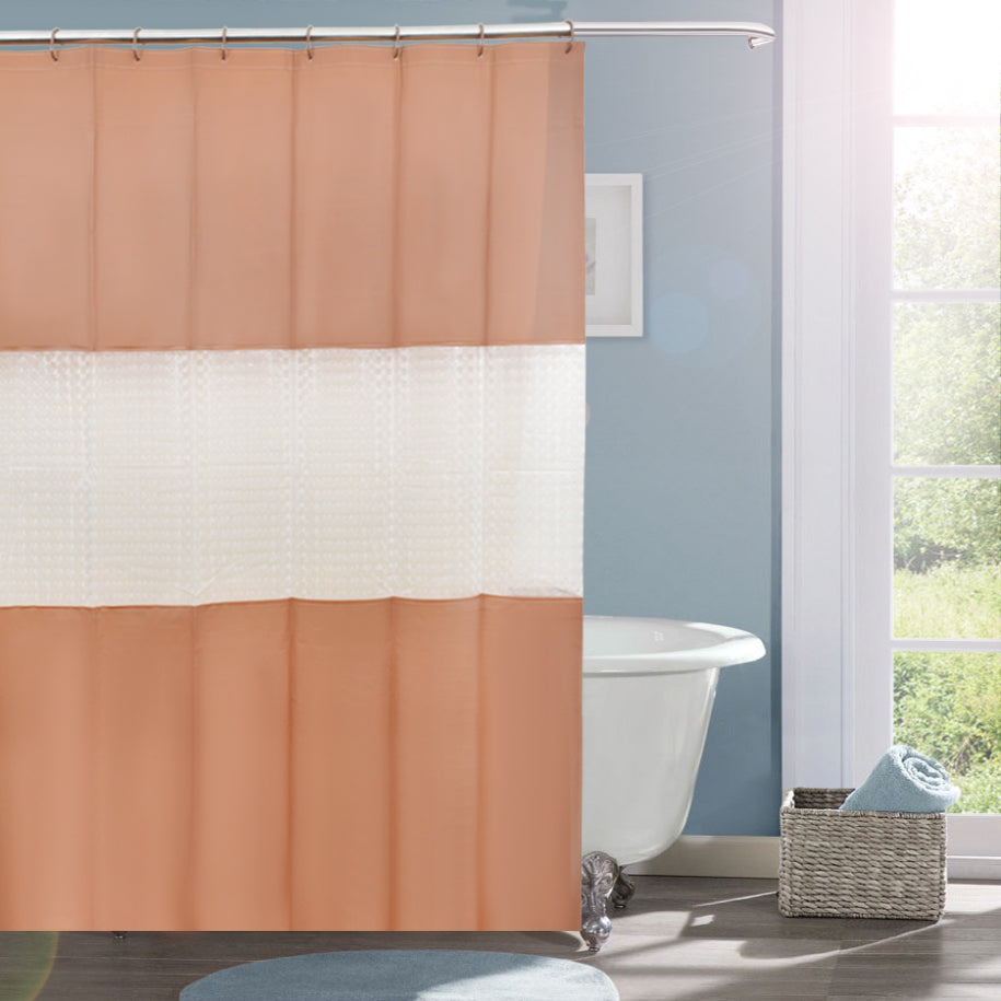 Pebble Matelassé Brown Shower Curtain With Rings