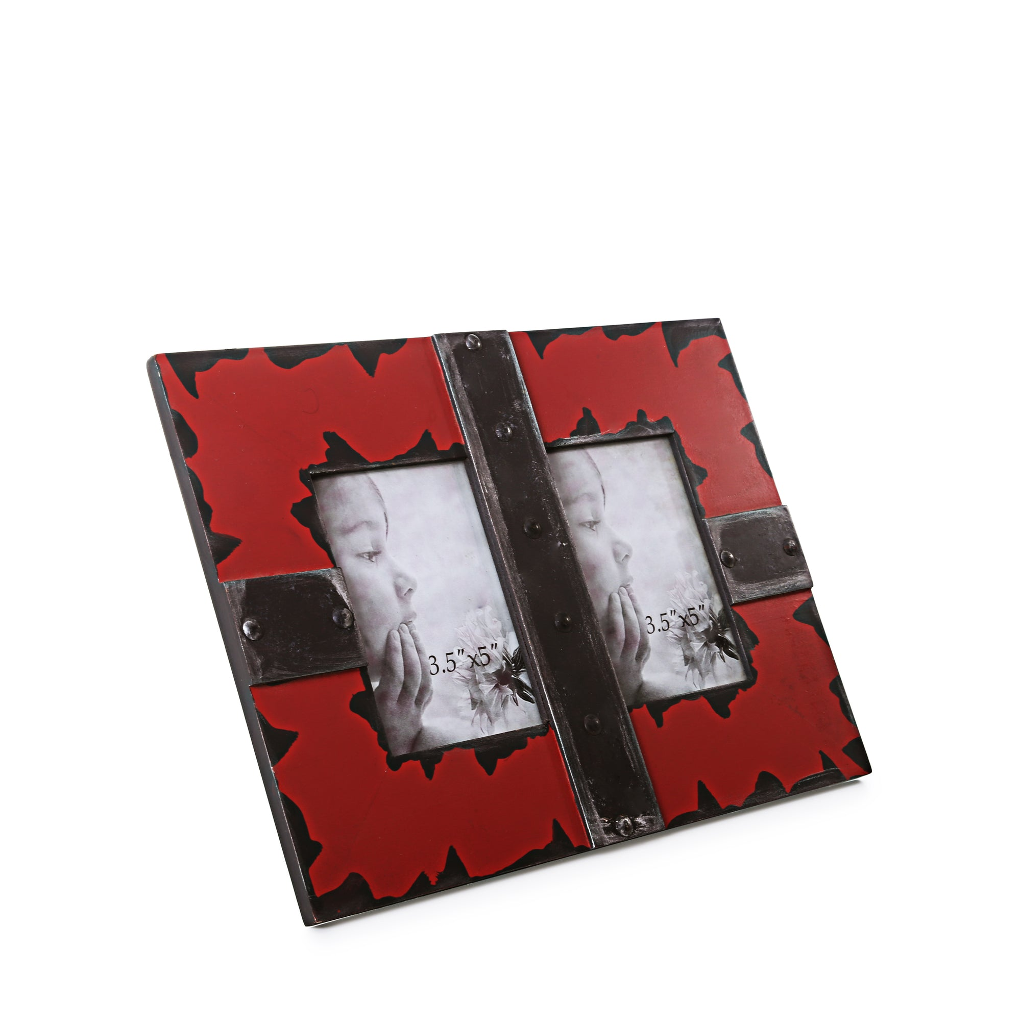 Metal Finish Dual Photo Frame (RED)