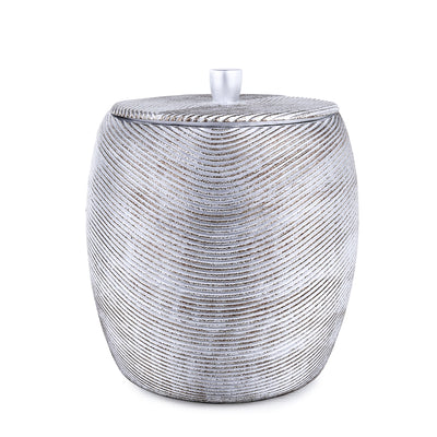 Silver Embossed Lines Bath Accessory