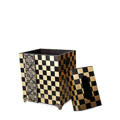Block Wooden Basket with Tissue Box (Black)