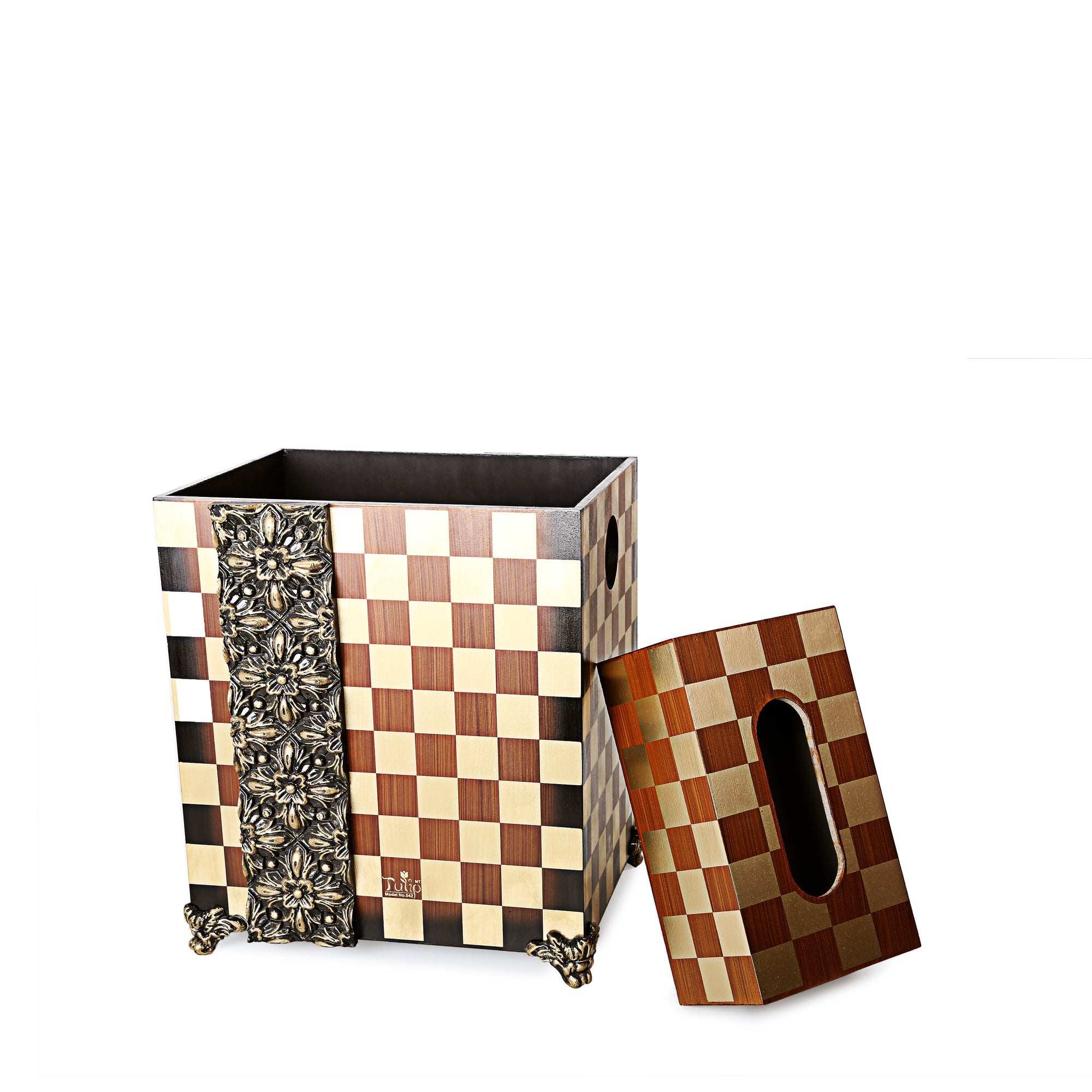 Block Wooden Basket with Tissue Box (Brown)