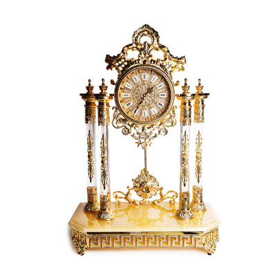 1850's Louis Brass & Marble Mantel Clock