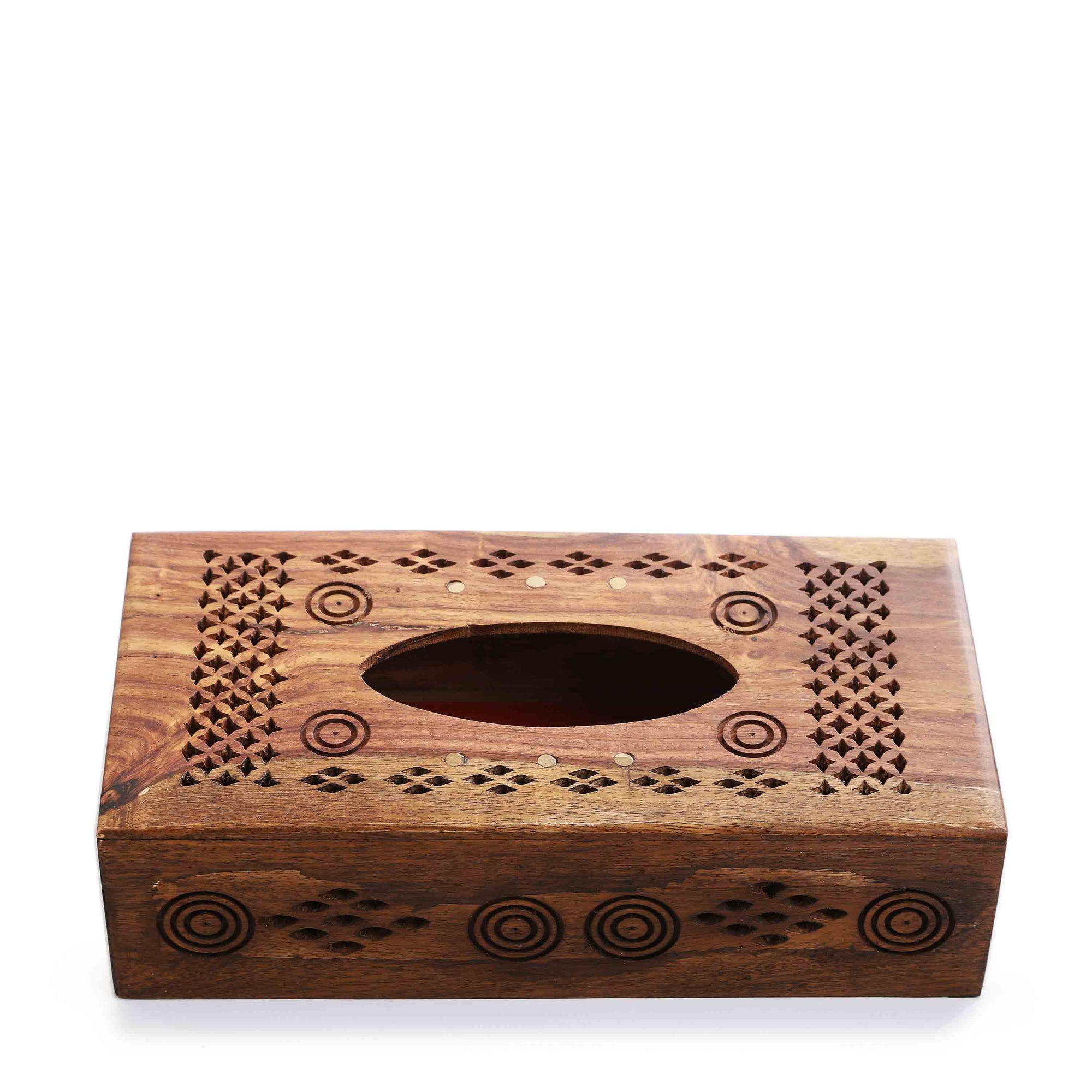 Hand Carved Wooden Tissue Box