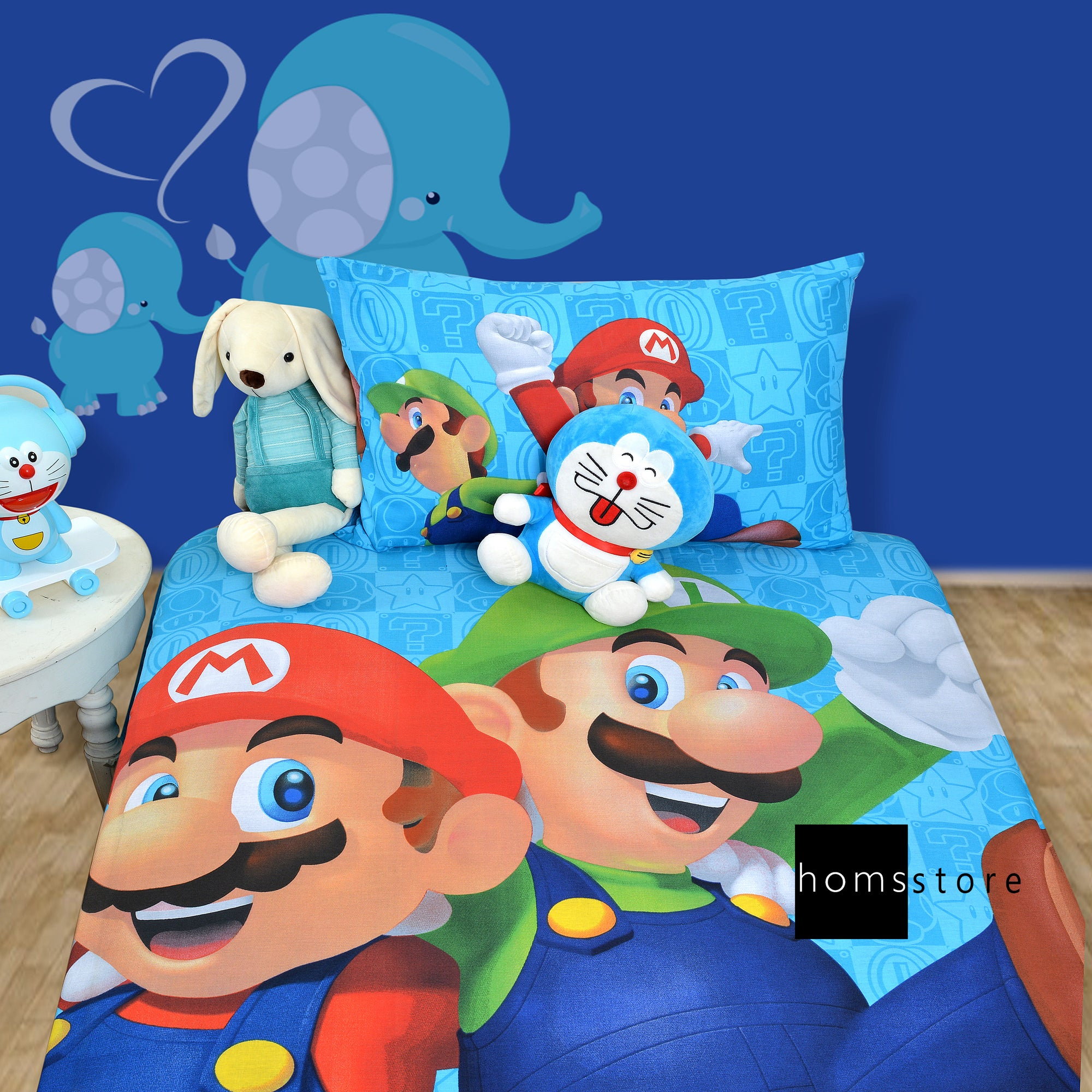 Super Mario Single Bedsheet with Pillow case - Home Matters Store
