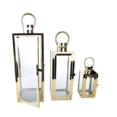 Chrome Rectangular Candle Holder (Set of 3)