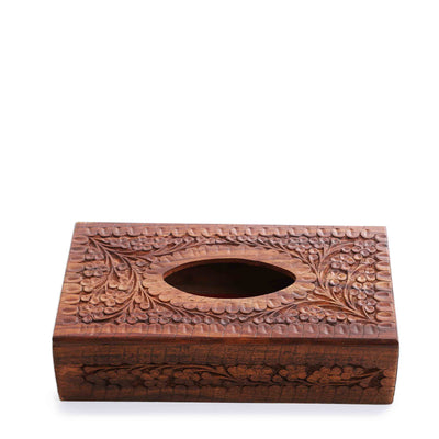 Embroidered Wooden Carved Tissue Box