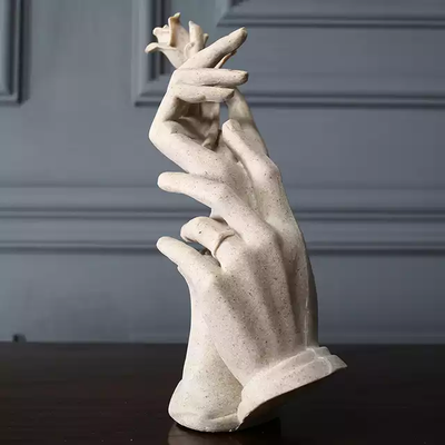 Rose in Couple Hands Sculpture