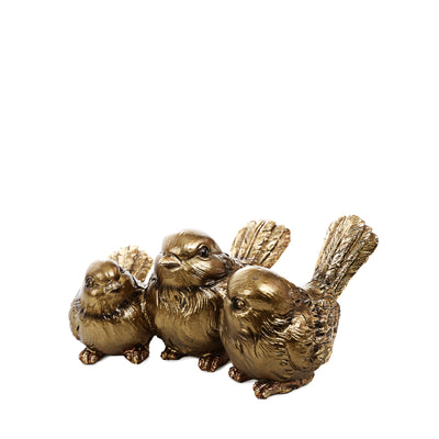 Golden 3 Sparrows Ornaments