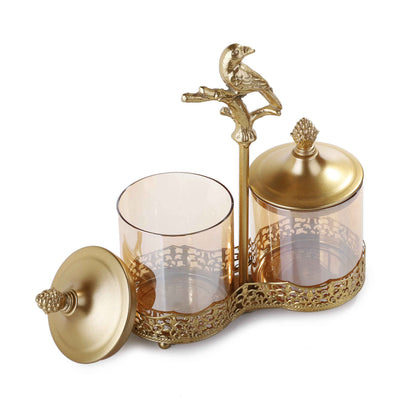 Engraved Glass Jars & Holder (2-P)