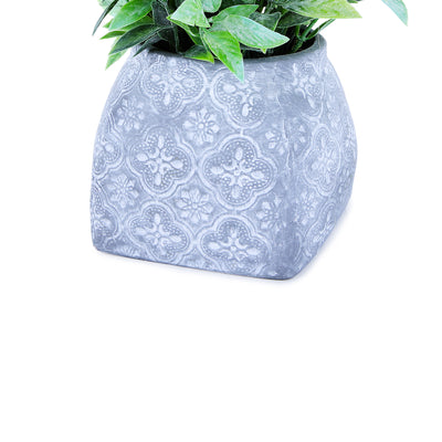 Embroidered embossed clay  Pot & Planter (Green)