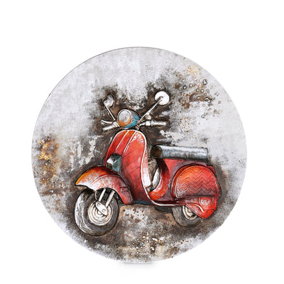 Round Embossed Scooter Scenery