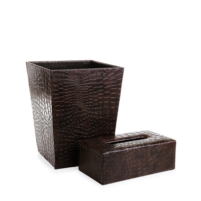 Leather Basket with Tissue Box
