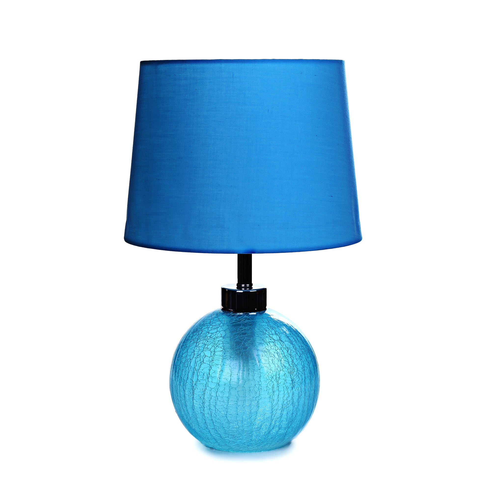 Crackle Glass Table Lamp (Blue)