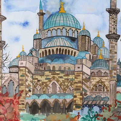 Blue Mosque in Water Colors