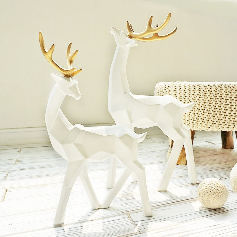Modern Creative Deer Figurines (White)