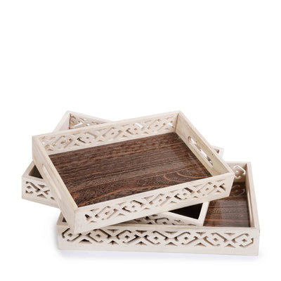Wooden Carved Tray (Set of 3)