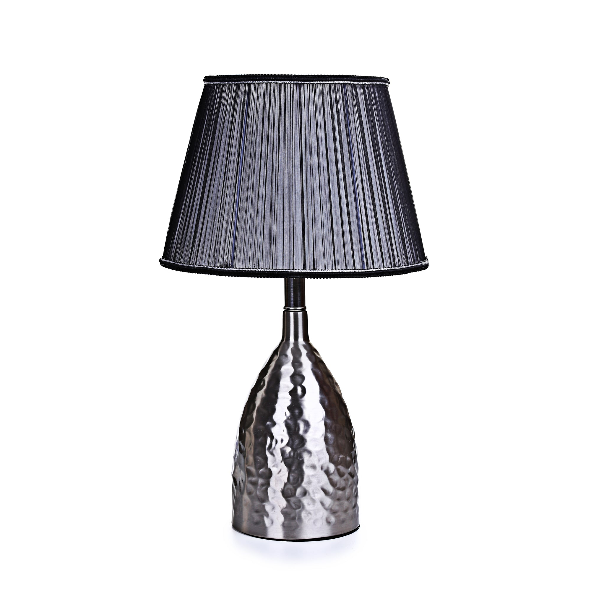 Hammered Pot Silver Table Lamp