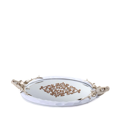 Deer Handled Mirror Tray (White)