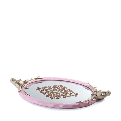 Deer Handled Mirror Tray (Pink)