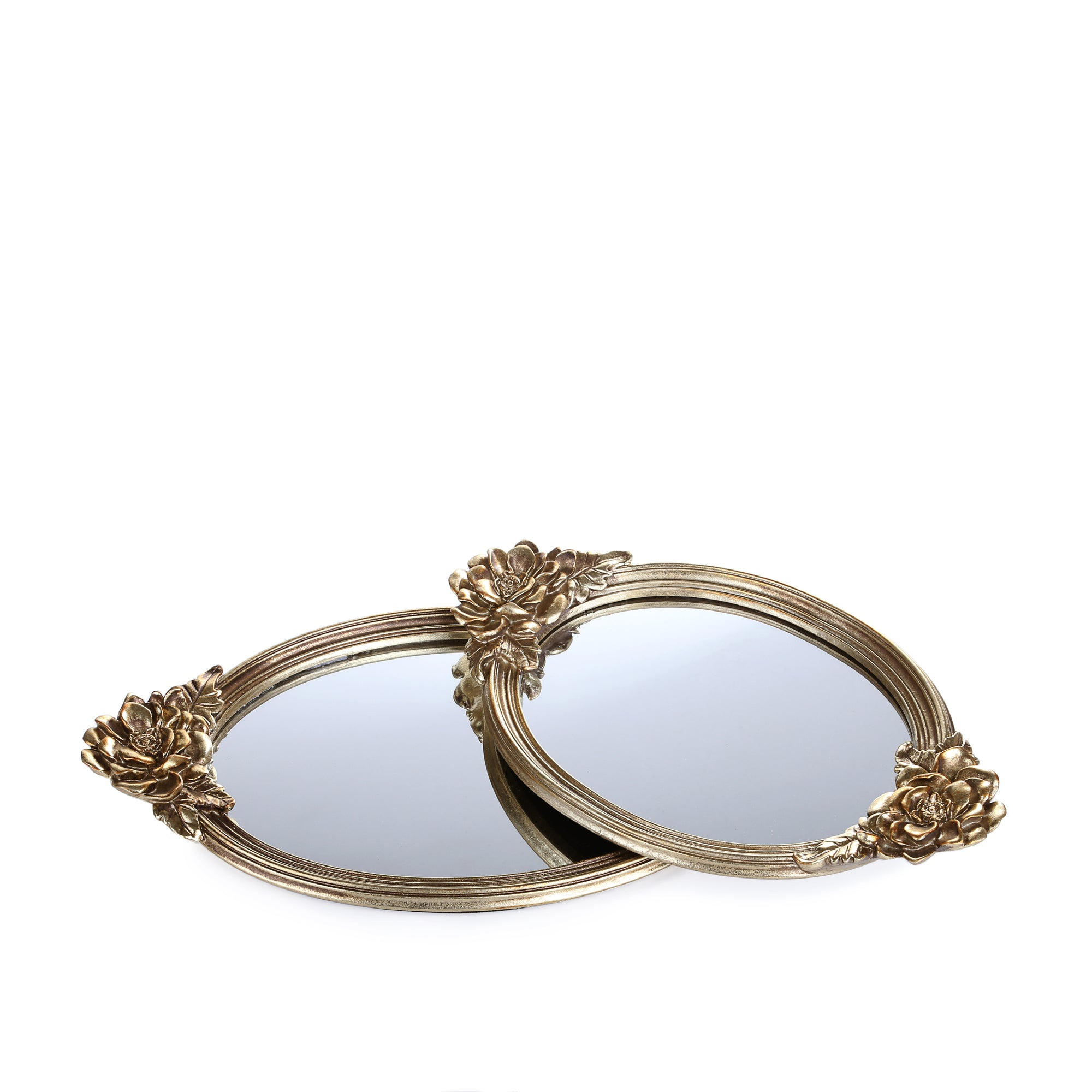 Rose Handles Golden Mirror Tray (set of 2)