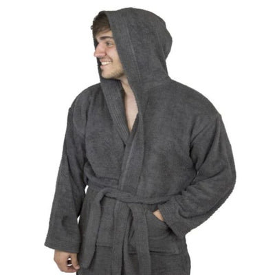 Premium Toweling Bathrobe with Hood (Dark Gray)