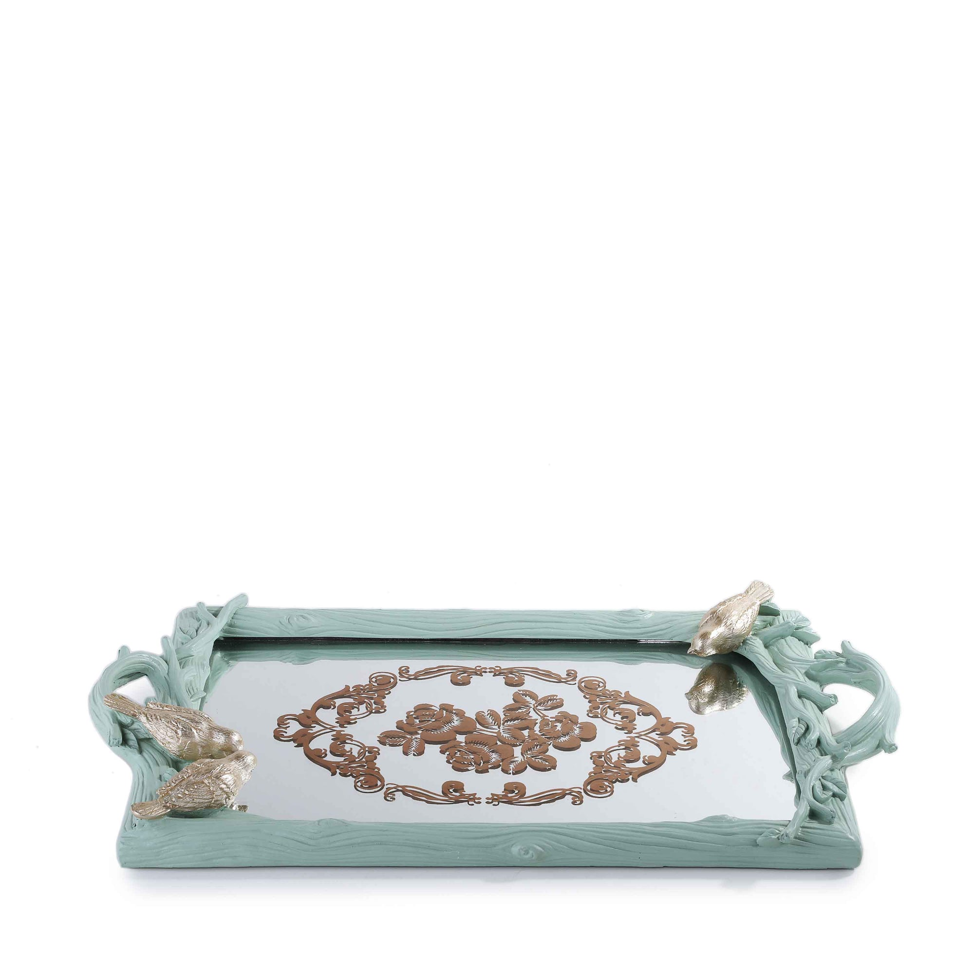 Sparrow Mirror Tray (Light Green)