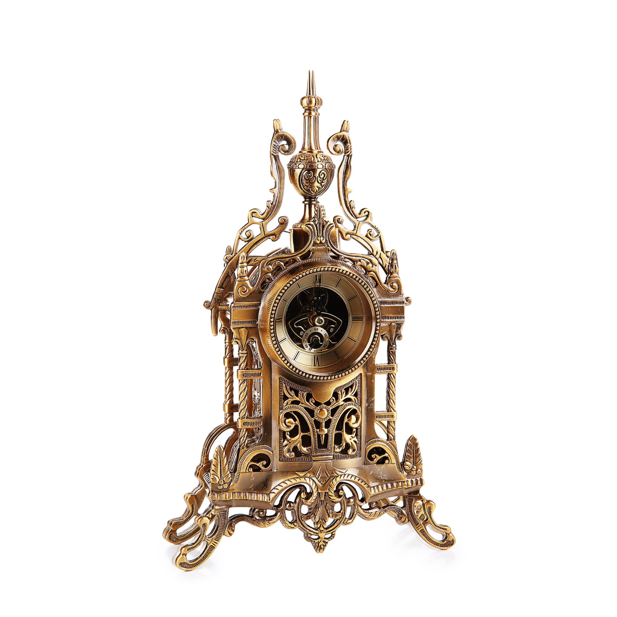 French Gilded Mantel Table Clock