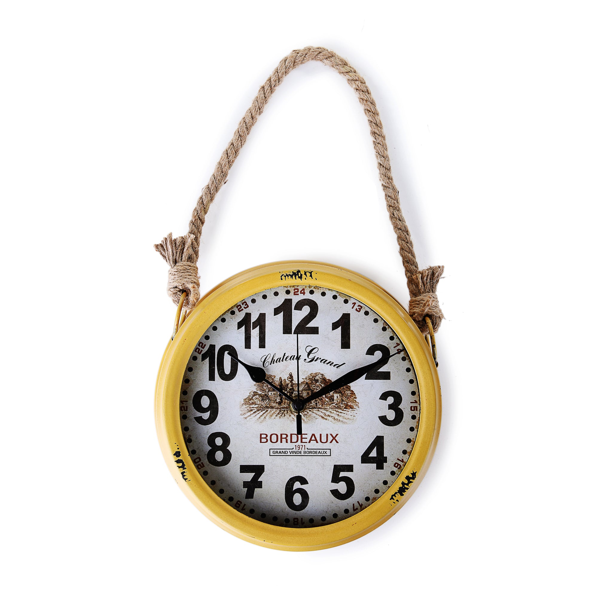 Rusty Wall Clock with Rope (Yellow)