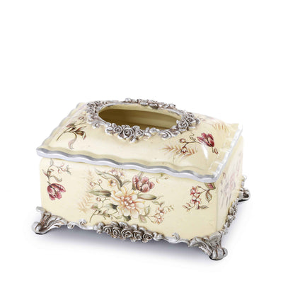 Light Yellow Floral Tissue Box