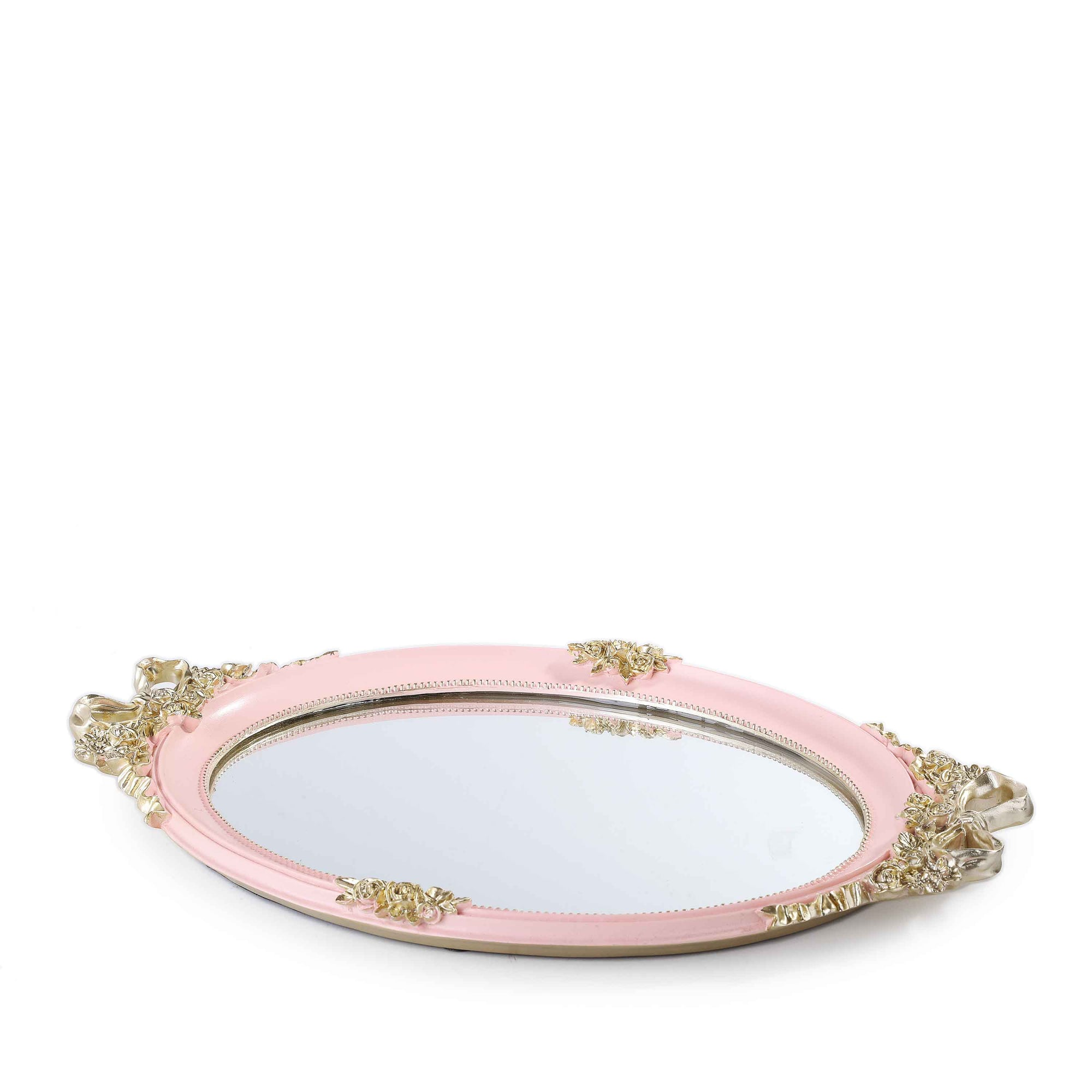 Royal Flower Mirror Tray (Pink)