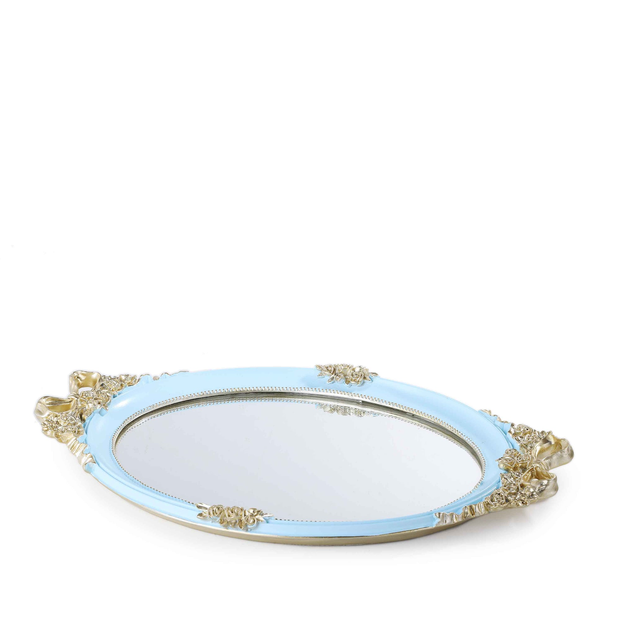 Royal Flower Mirror Tray (Blue)
