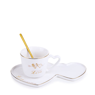 White Heart Mug With Ceramic Coaster & Spoon