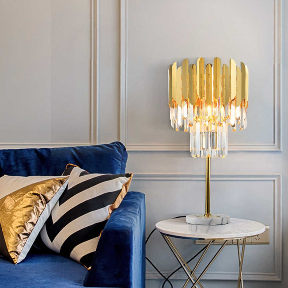 Golden Plated Crystal Bars Table Lamp