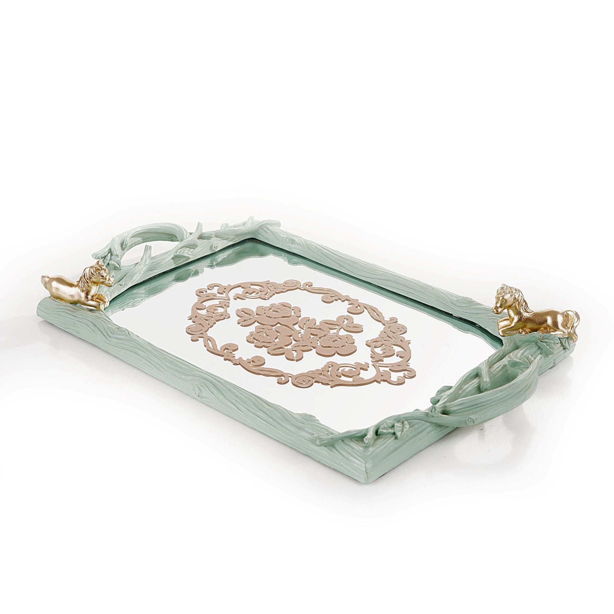 Rectanguler Embroiderd Horse Tray (Lite Green)