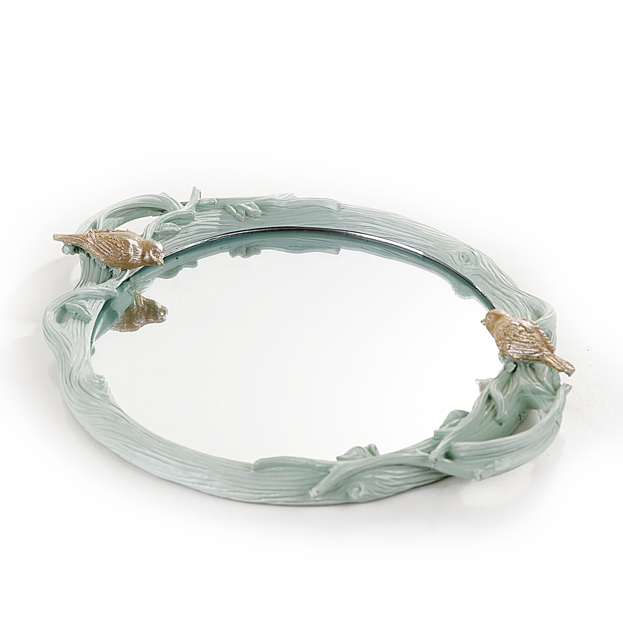 Sparrow Round Mirror Tray( Lite Green)