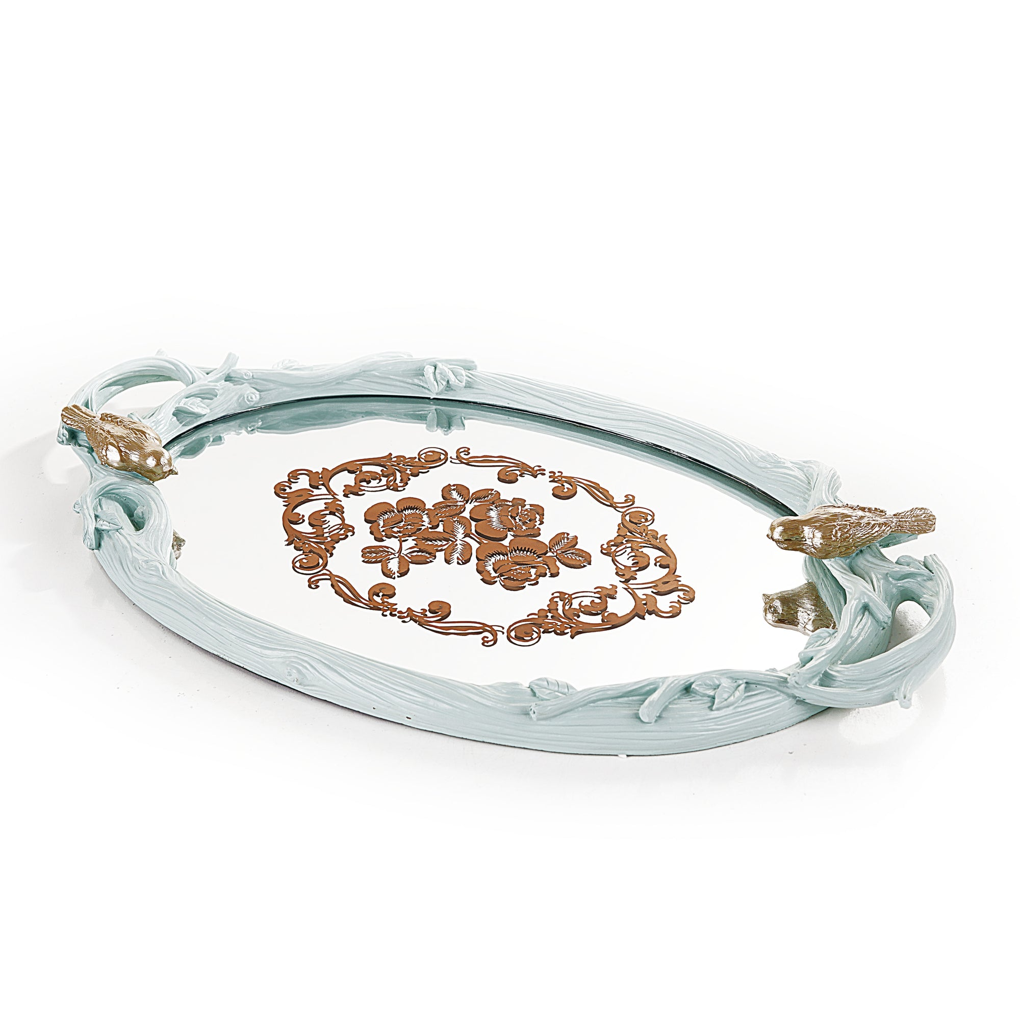 Ovel Embroiderd Horse Tray (Lite Green)