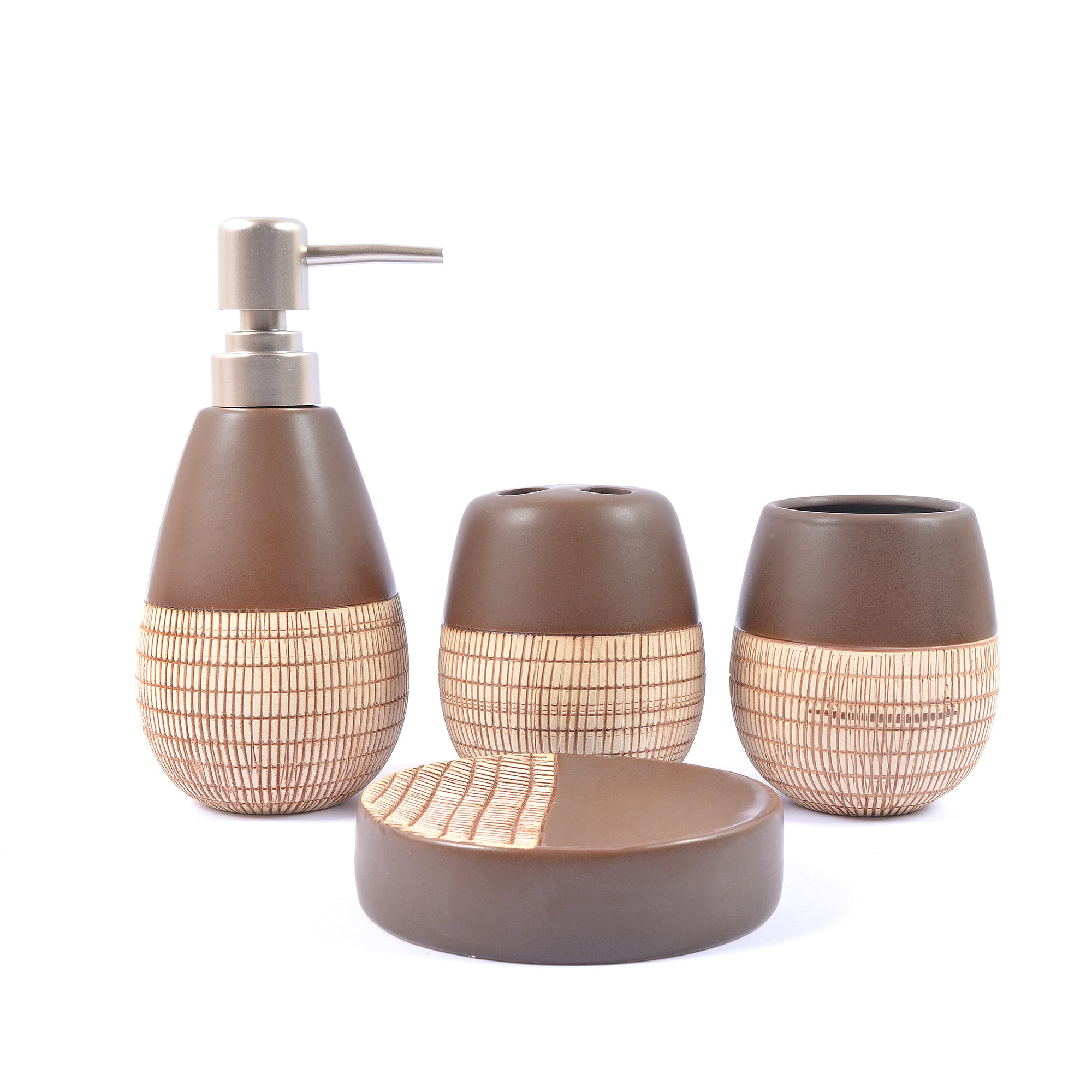 Embossed Lines Detail Bathroom Set