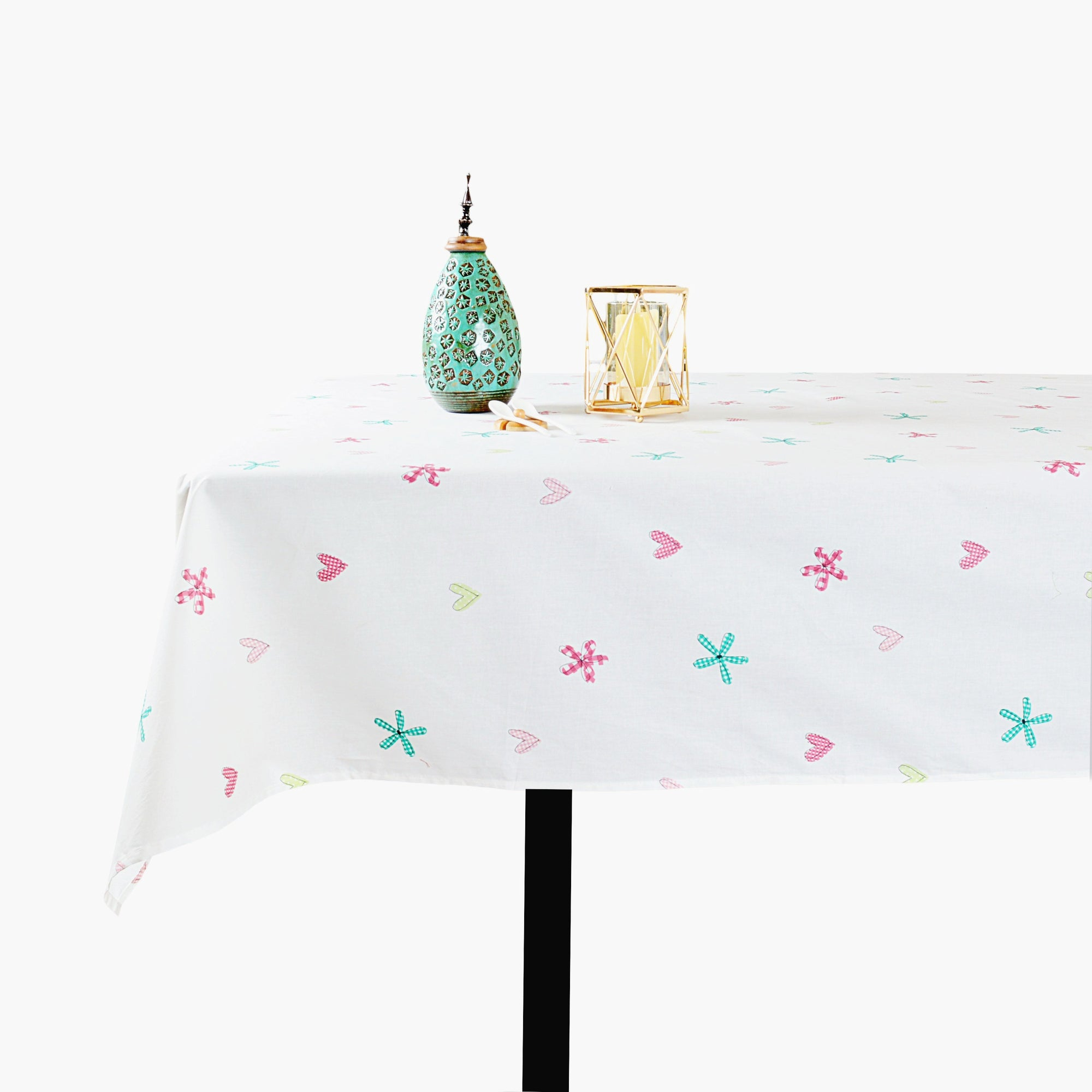 Flower & Hearts Design Water Proof Table Cloth