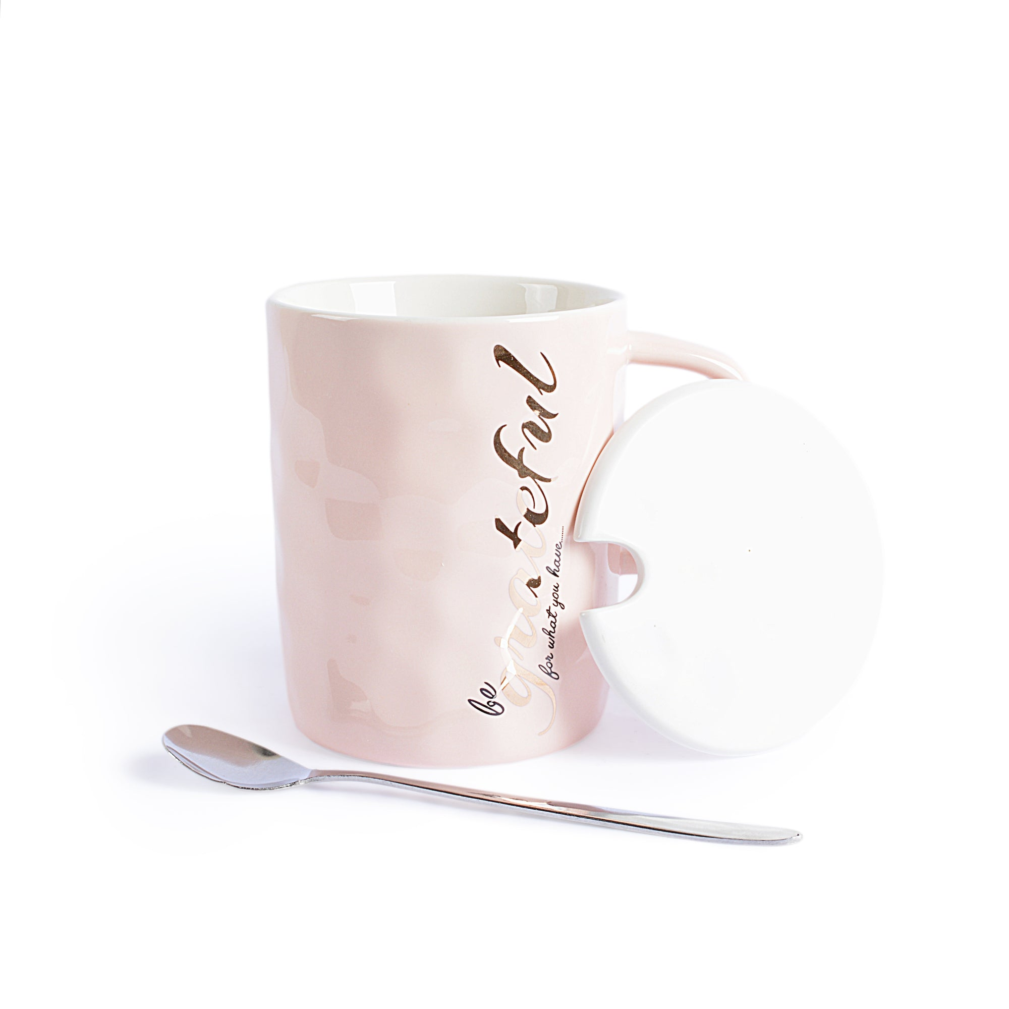 Grateful Design Ceramic Mug With Lid & Spoon