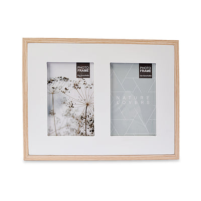White Double Design Wooden Wall Hanging Photo Frame