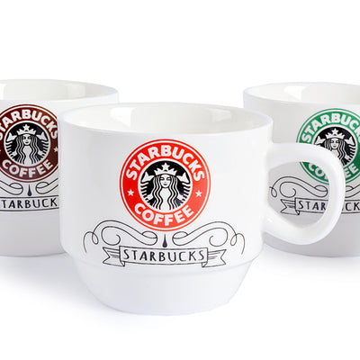 Star Bucks Design Ceramic Mug (Set Of 4)