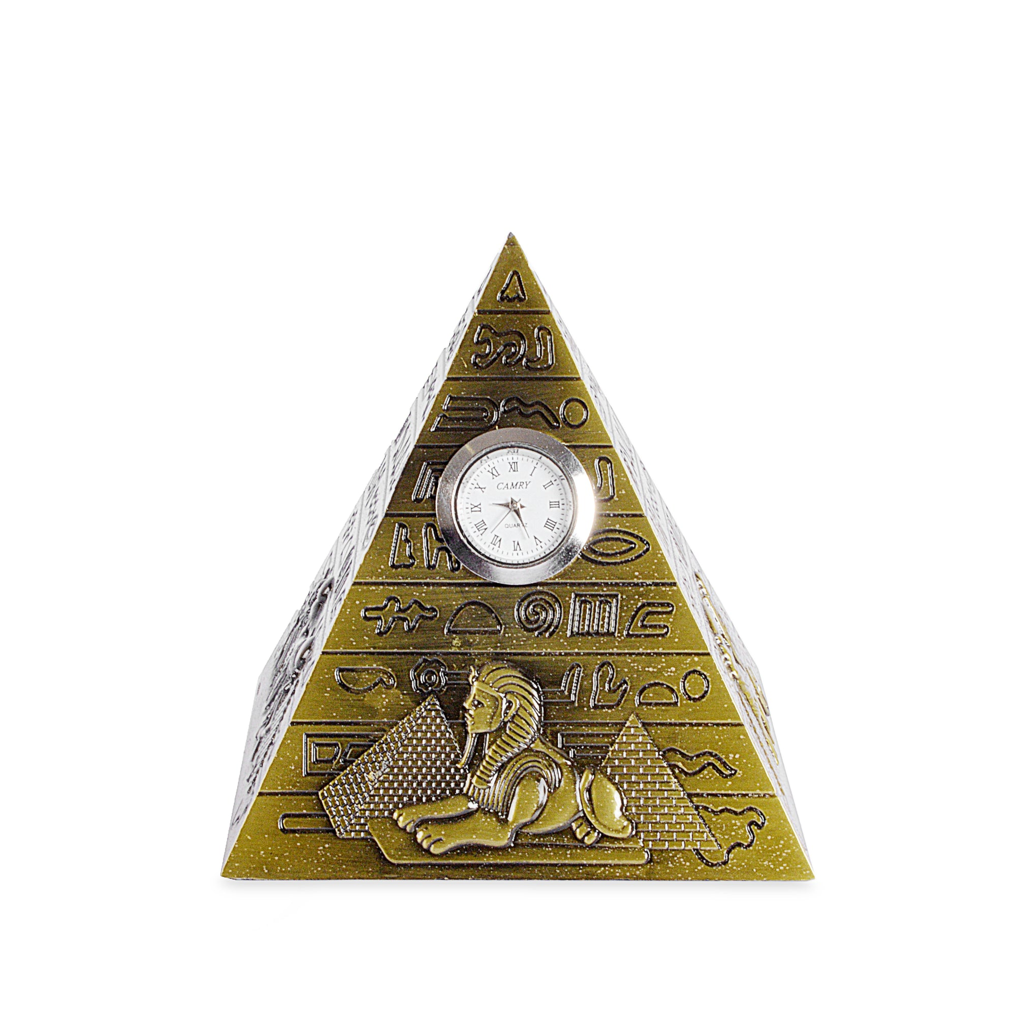 Decorative Egypt Metal Pyramid Design Clock