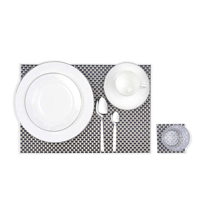Braided Textured Plastic Place-mat with Costar  (Set of 2)