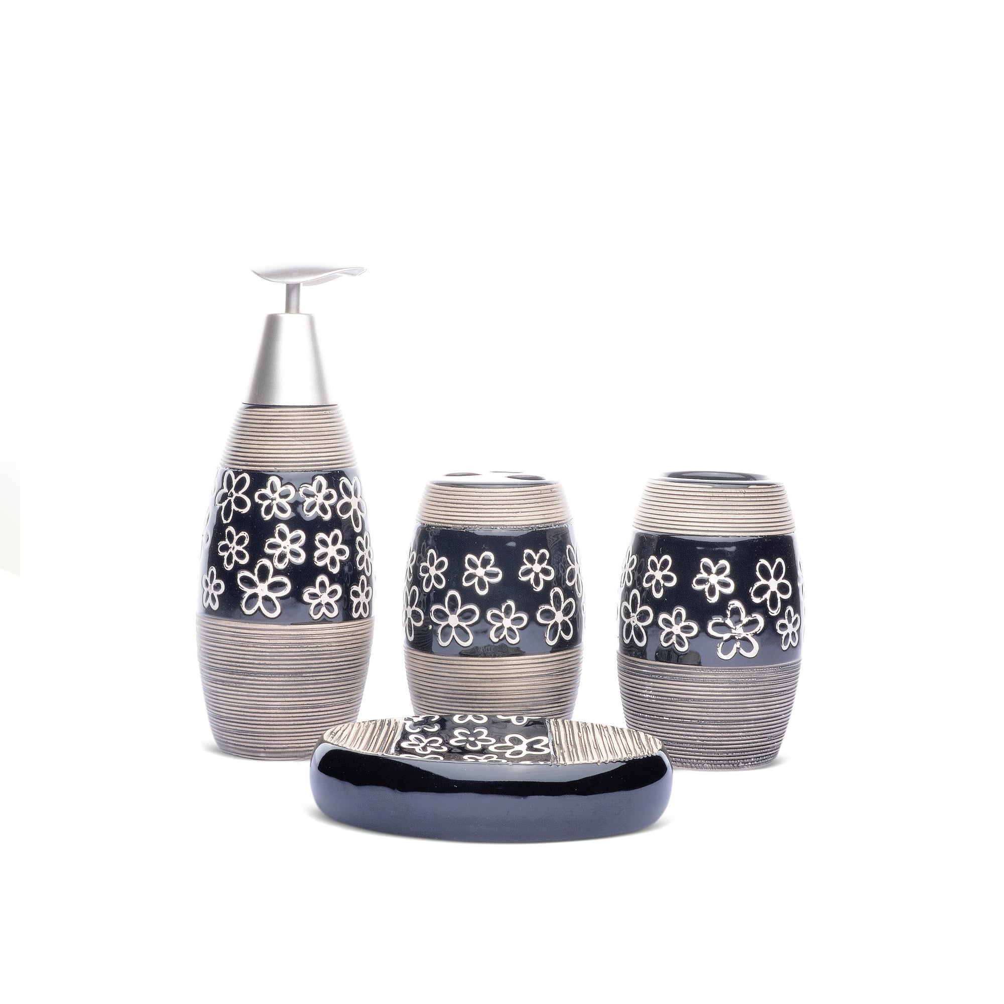 Floral Design Bathroom Set (Black)
