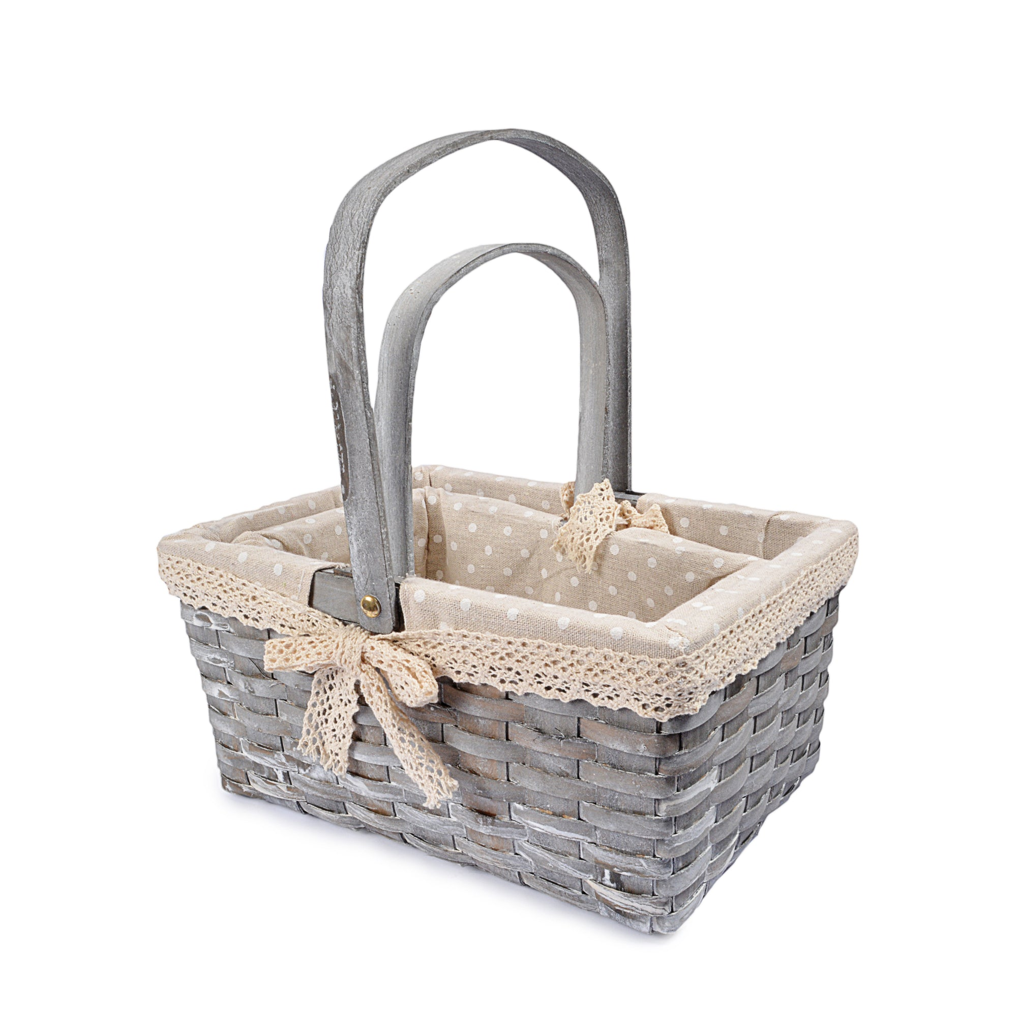 Multipurpose Fabric Braided Baskets with Handles (Set of 2)